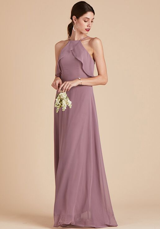 Birdy Grey Jules Chiffon Dress in Dark Mauve Halter Bridesmaid Dress
