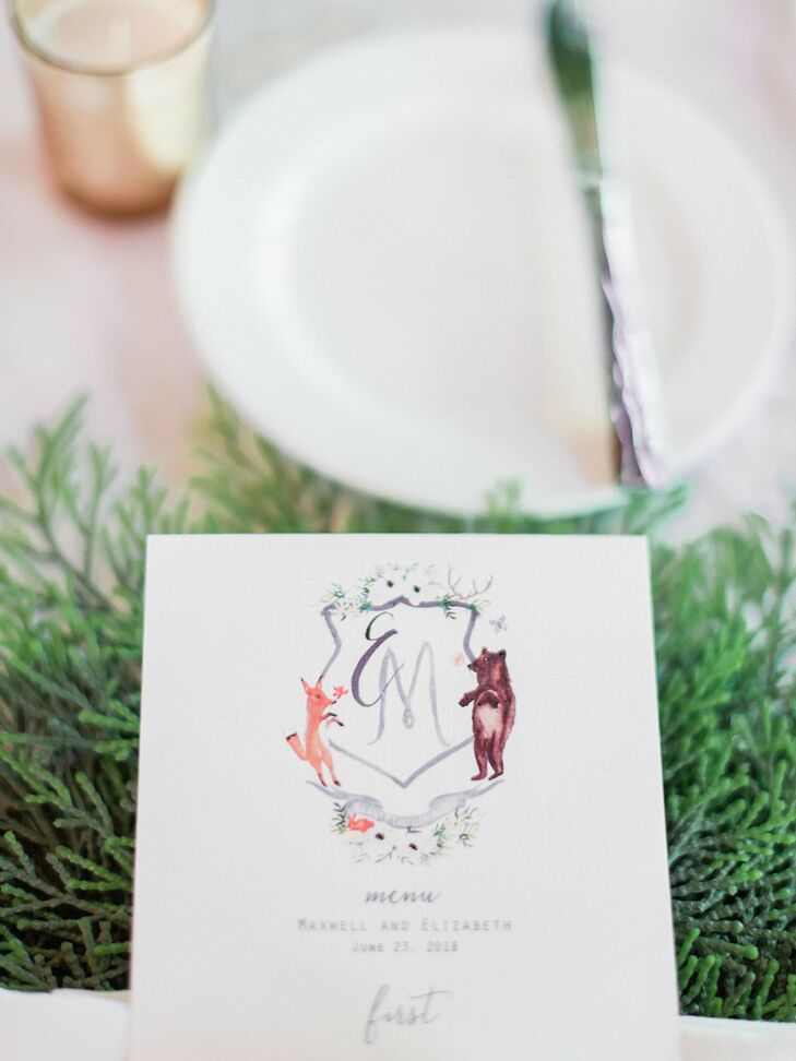Whimsical Dinner Menu with Monogram
