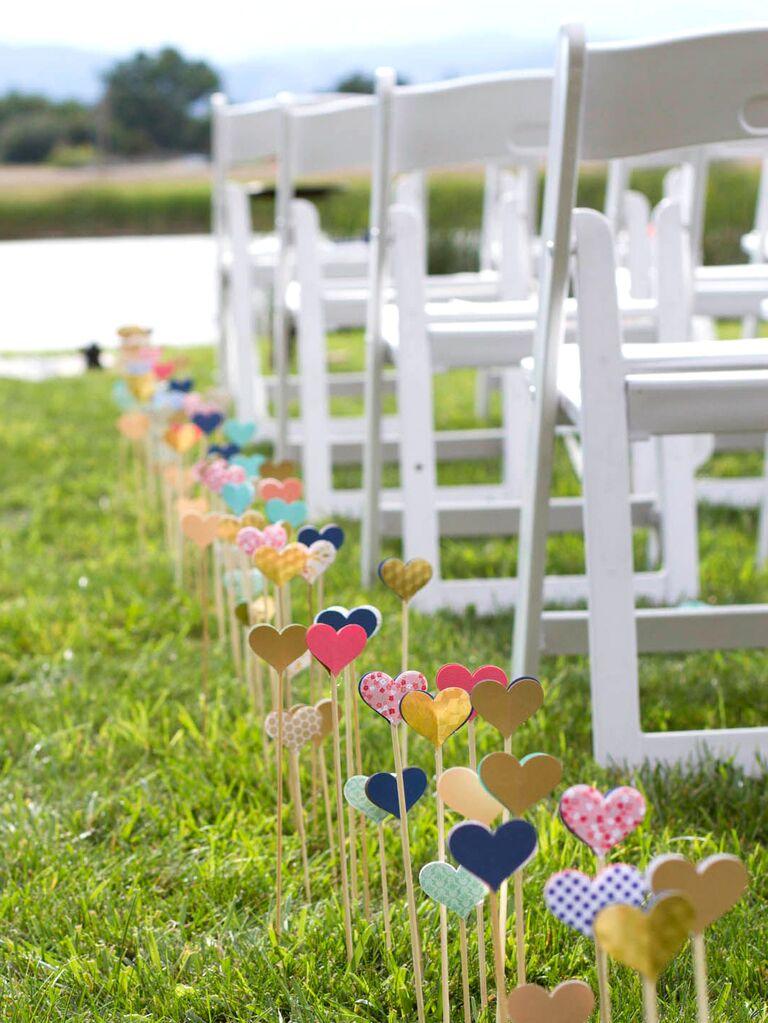 DIY Wooden Hearts ceremony aisle decor