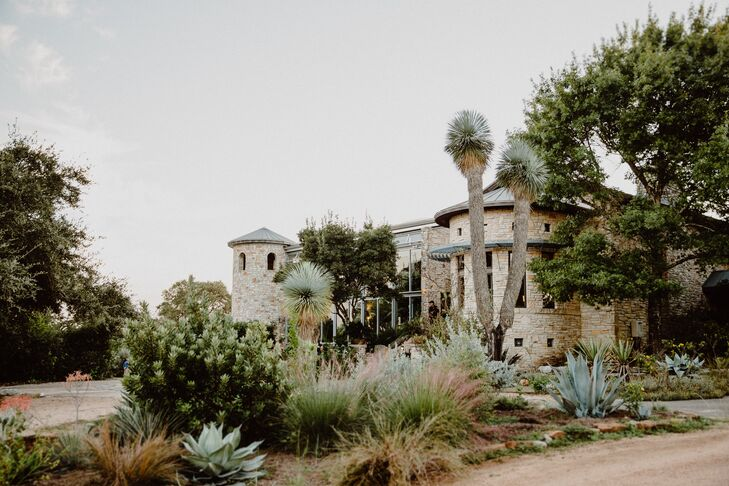 "Much of the day's palette inspiration came from the natural color scheme at  the Greenhouse at Driftwood in Driftwood, Texas—soft greens, peaches, ivories and nudes. ""We really pulled from the botanical vibe of the Greenhouse and brought that into all our design elements,"" Emily says."