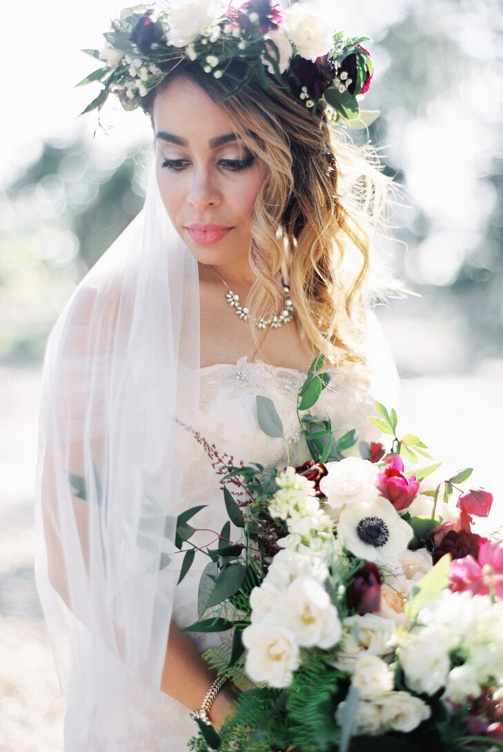 """My dress was a mermaid-style French tulle, organza and hand-sewn lace concoction in the shades of blush and ivory,"" says Tammie, who had her bouquet and flower crown crafted by Helen from Ever After florist. ""I absolutely love flowers, and I knew I wanted bouquets that looked like they were just picked from the fields—hand tied, romantic and just a little wild."""