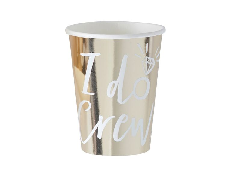Gold foil I do crew party cups for bachelorette decorations