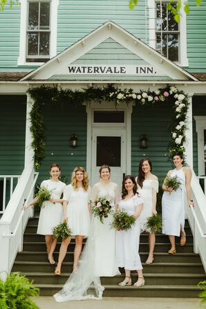 Bride and Bridesmaids in Simple White Dresses at Watervale Inn