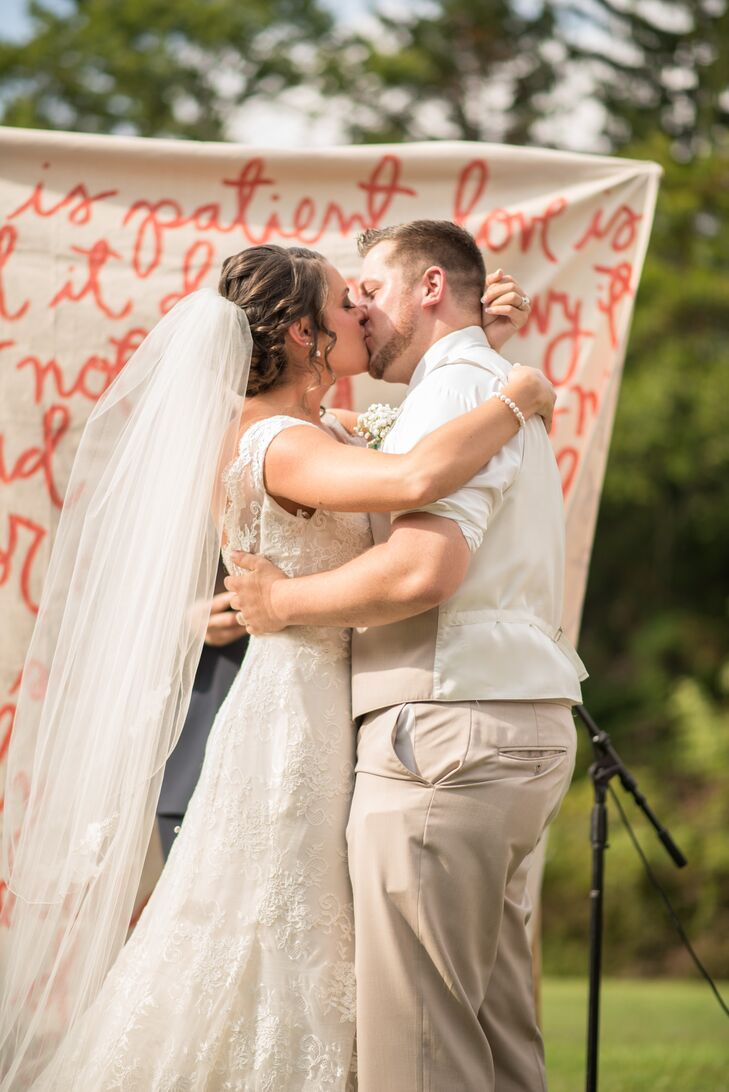 First Kiss With Coral Lettered Backdrop