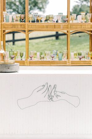 Illustrated Bar for Microwedding at The Barn at Willow Brook in Leesburg, Virginia