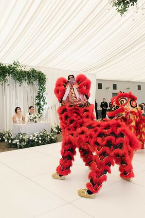 Traditional Chinese Lion Dance on Elegant Dance Floor