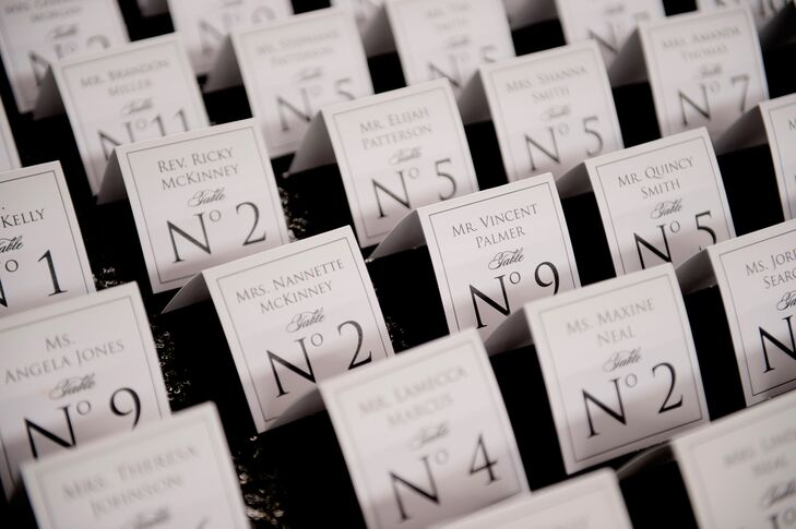 Square Black and White Escort Cards