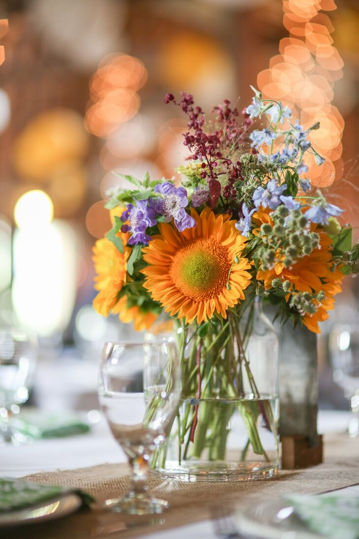 Bright sunflowers and wildflower centerpieces had a fresh-picked feel.