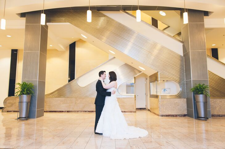 """Having lived in New York City for over a decade, we were really looking to celebrate our big day outside of the city in Dan's hometown of Hartford, Connecticut,"" says Pamela. ""When we found the Gershon Fox Ballroom, it was like we found a piece of New York City in New England."" They loved its streamlined, neutral color scheme and art deco details. In fact, they brought a similar, ""Old Hollywood""-inspired style into their wedding."