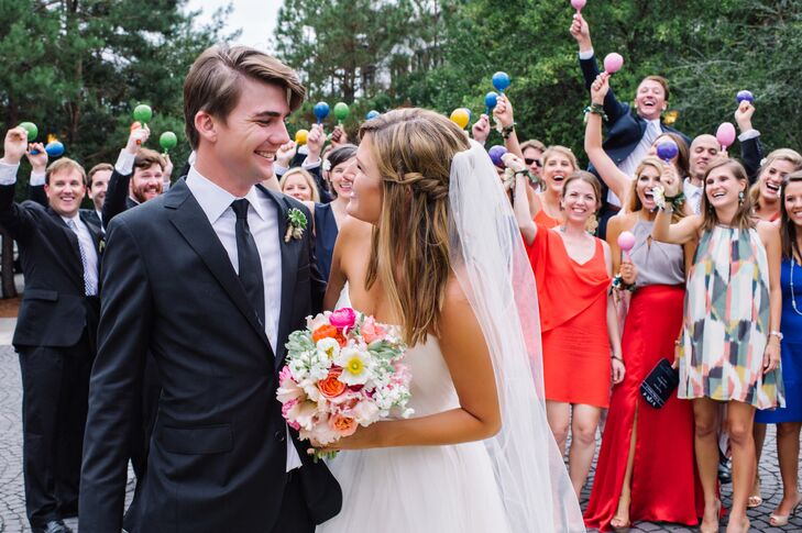 Caroline Ittner (29 and a publicist) and Christopher Pinkston (29 and a sales engineer) turned their outdoor wedding into a bright Tex-Mex-inspired ce