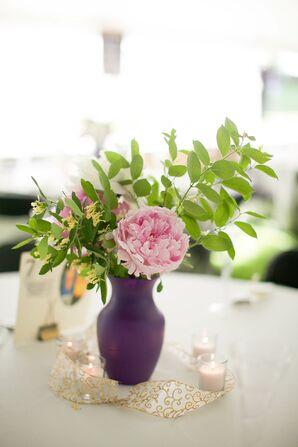 Pink Peony Centerpieces in Plum Vase