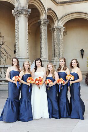 Strapless Navy Monique Lhuillier Bridesmaid Dresses