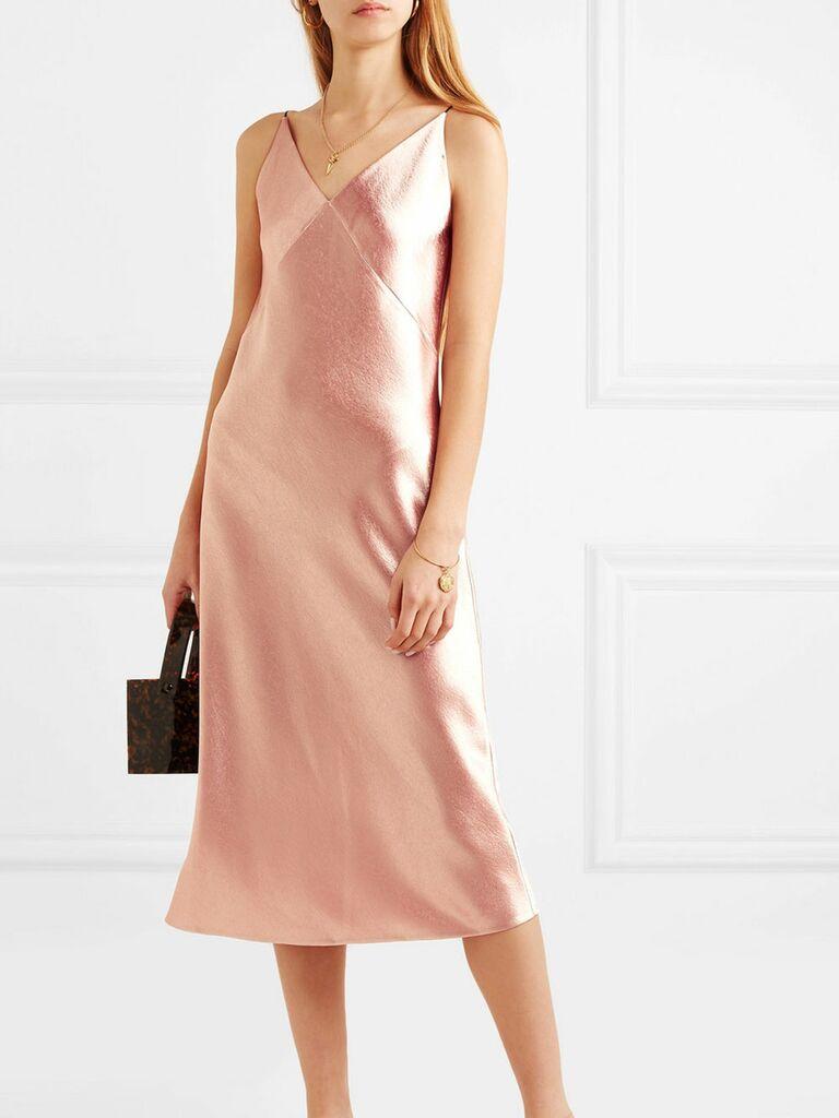 Pink slip spring wedding guest dress