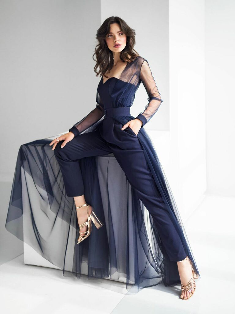 navy wedding jumpsuit with cape