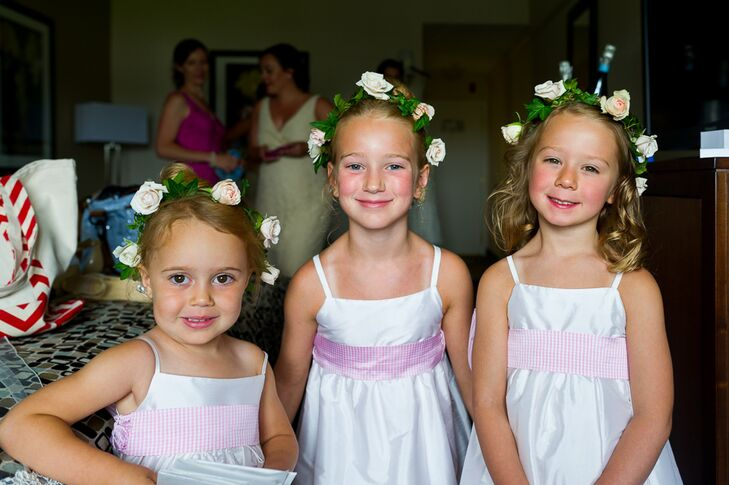Flower Girls Wearing Pink and White