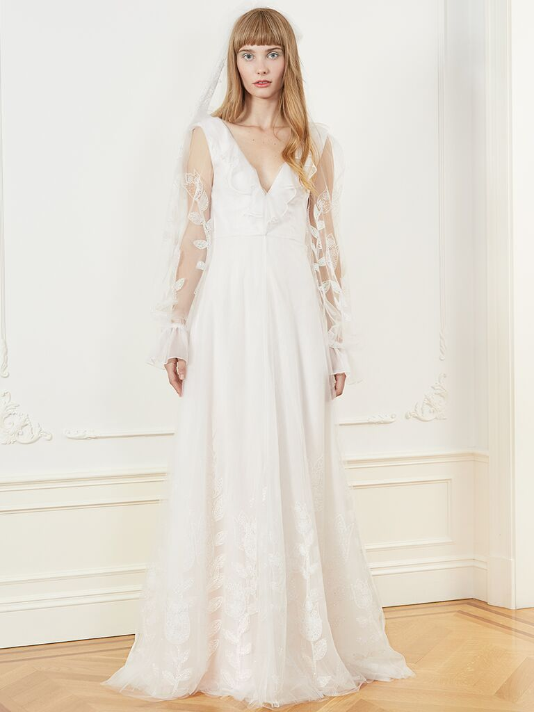 Honor A-line wedding dress with V-neckline and sheer long sleeves