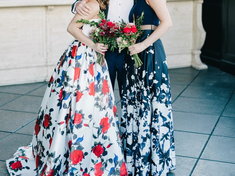 Printed floral bridesmaid dresses winter wedding trend