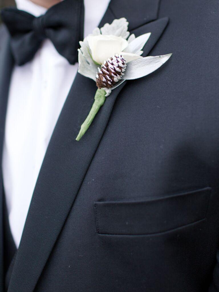 winter wedding ideas pinecone boutonniere