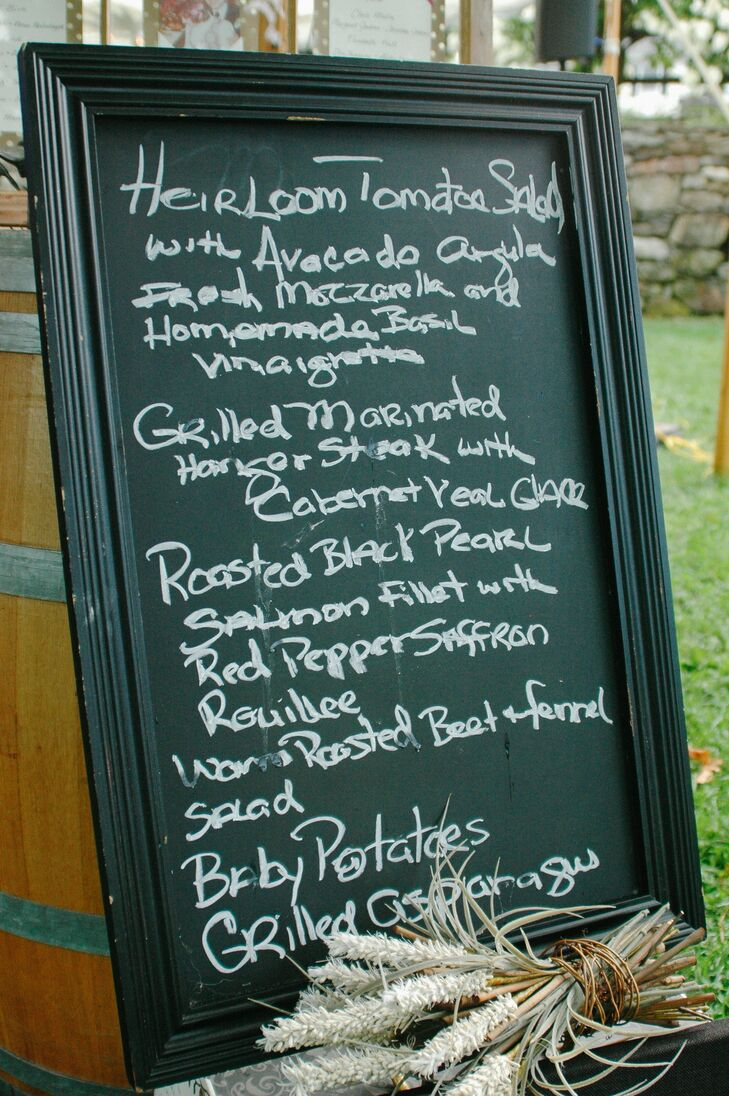 """""""We wanted the food for our cocktail hour and reception to be a reflection of the gorgeous outdoor setting, so we stuck to a very fresh, clean farm-to-table menu,"""" Karen says."""