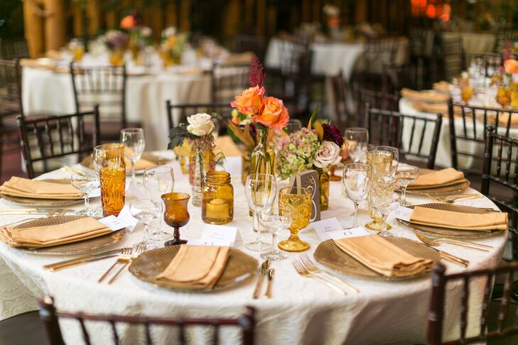 Rustic Reception Tables with Topaz-Colored Glassware