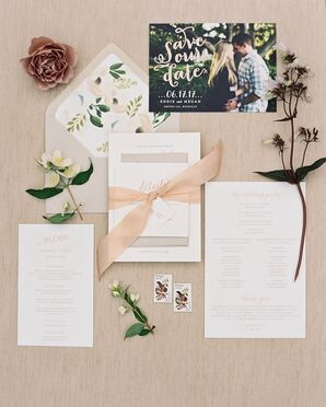 Whimsical Blush Script Invitations with Floral Lining