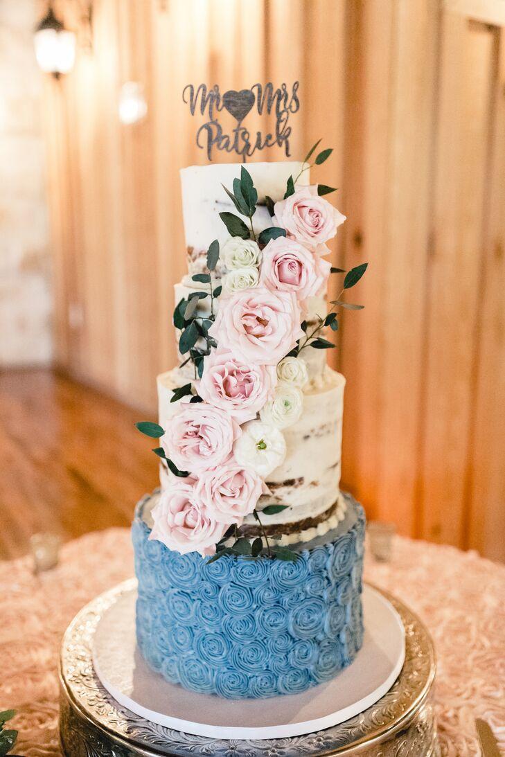 Naked Cake with Blue Rosette Base