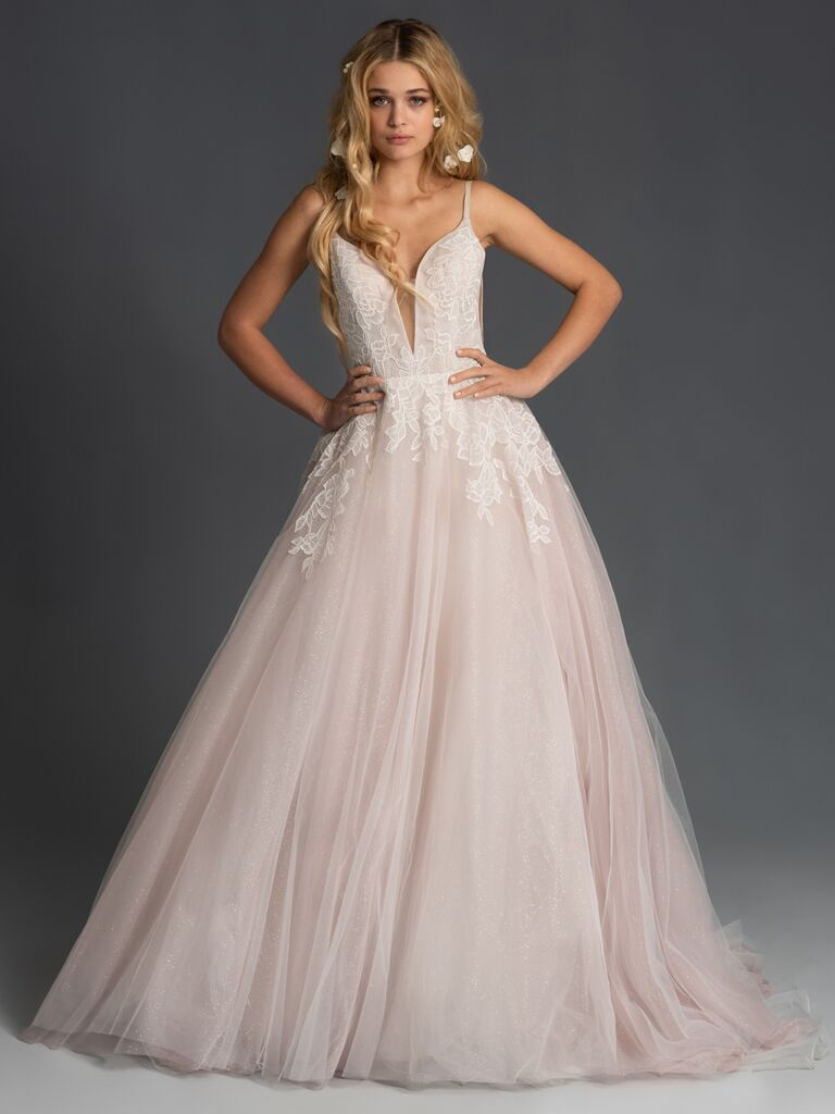 Blush by Hayley Paige Fall 2019 blush wedding dress with A-line silhouette