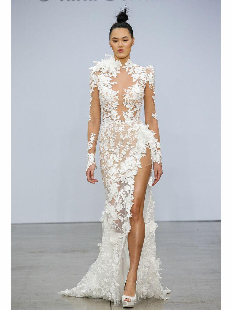 Pnina Tournai wedding dress illusion trumpet gown with floral applique