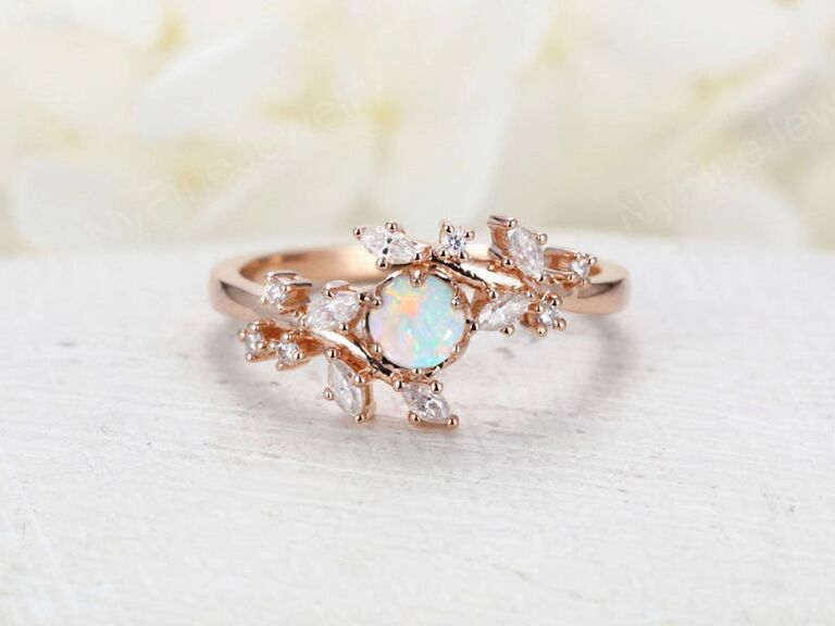NyFineJewelry opal engagement ring in 14K rose gold