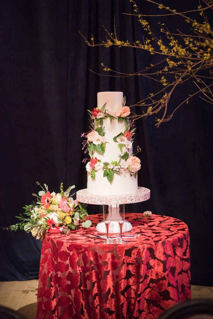 Red Velvet Cake Table with Tiered, Round Cake