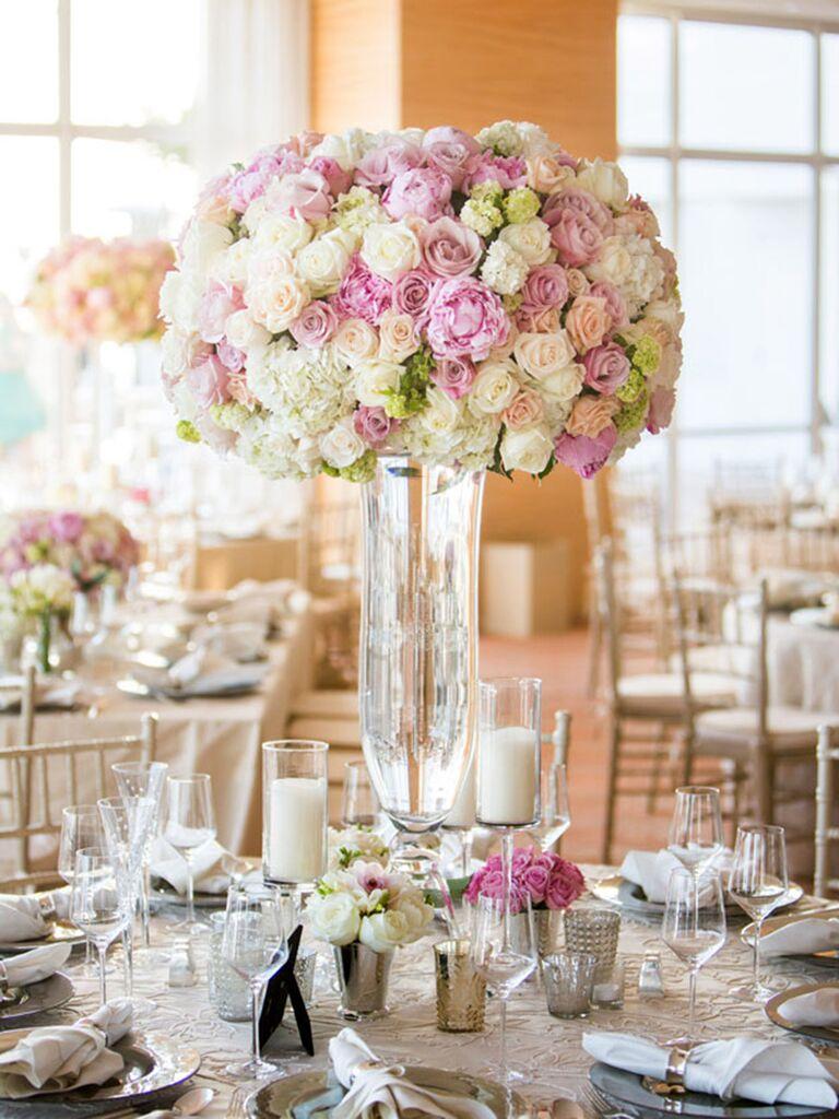 stunning tall centerpieces for wedding receptions rh theknot com Tall Vase Wedding Centerpiece Ideas Inexpensive Tall Wedding Centerpiece Ideas