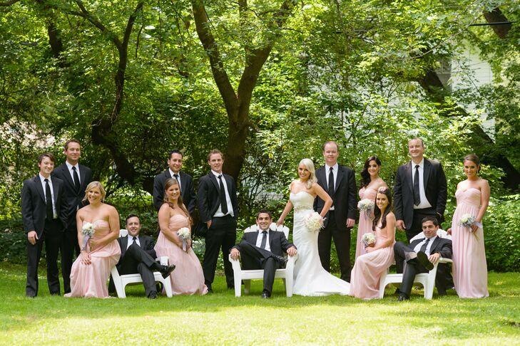 Preppy Pink Bridesmaid Dresses and Black Suits