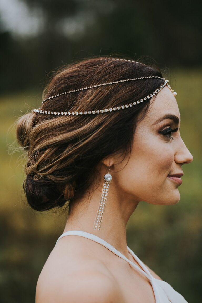 Wedding updo diamond headpiece