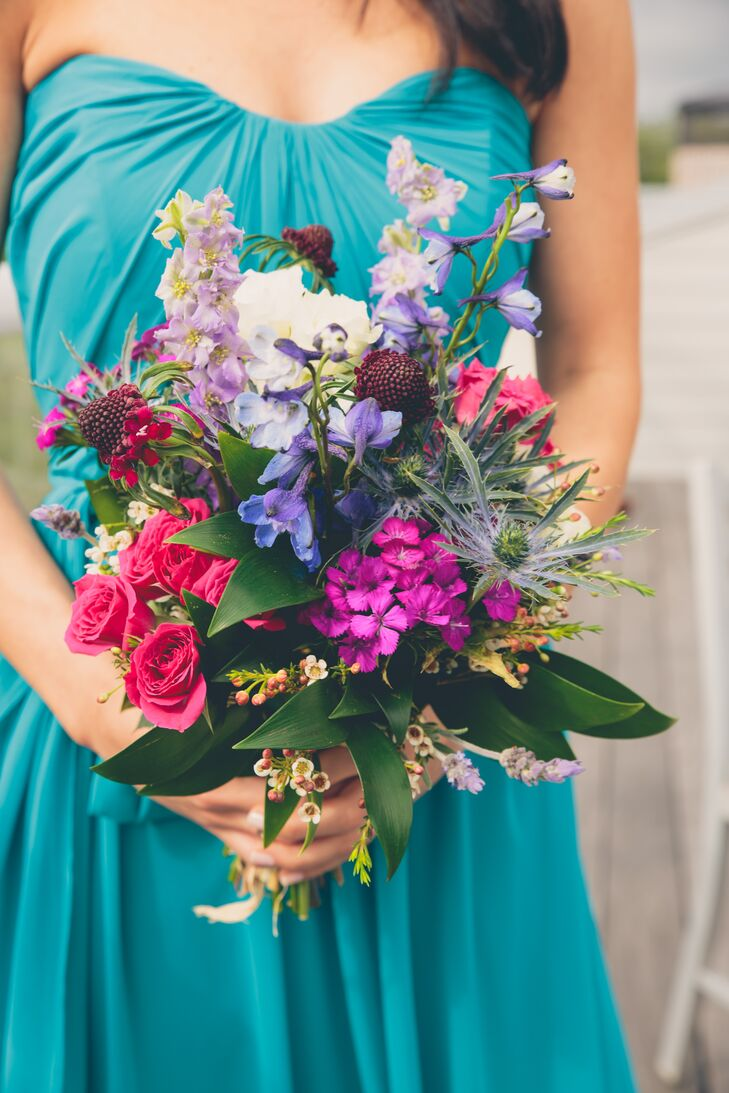 Lush, Colorful Textured Wildflower Bouquet