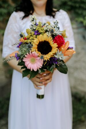 Bright, Colorful Bouquet of Sunflowers, Roses and Wildflowers