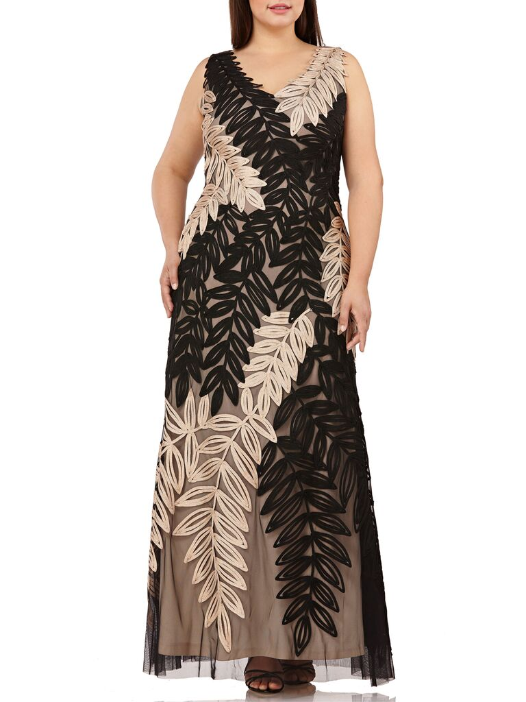 Floral black and gold plus size bridesmaid dress