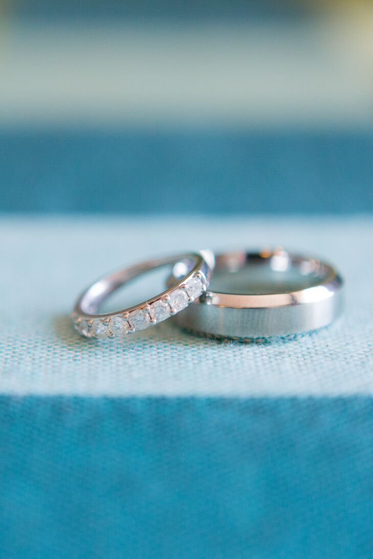 Modern Diamond and Brushed White Gold Rings