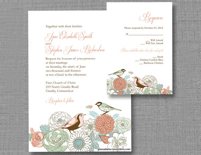 Vintage Birds Wedding Invitation Template