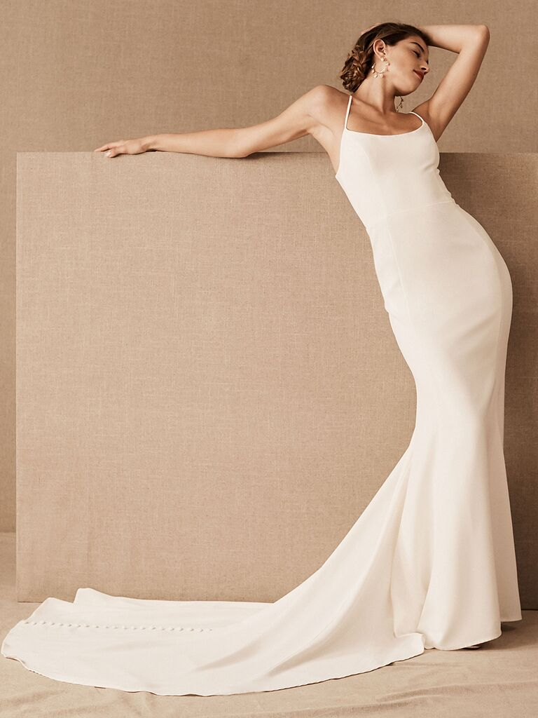 BHLDN fit-and-flare dress with scoop neckline and spaghetti straps