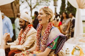 Bride Laughing During Hindu Wedding Ceremony  at The Rattlesnake Club in Detroit, Michigan
