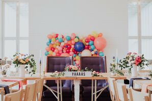 Sweetheart Table with Colorful Balloon Backdrop