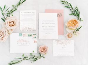 Botanical-Inspired Invitations with Rose-Gold Foil