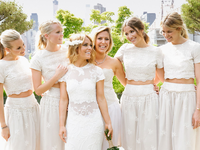 bridesmaid crop tops and skirts white lace