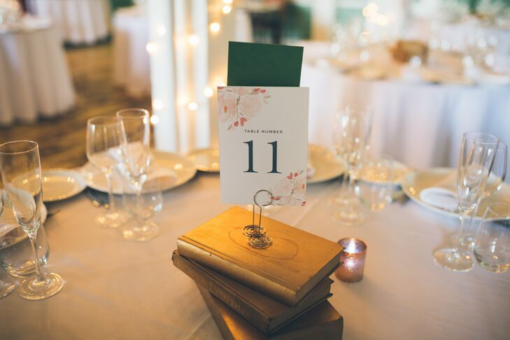Vintage-Inspired Book Centerpieces with Paper Table Numbers