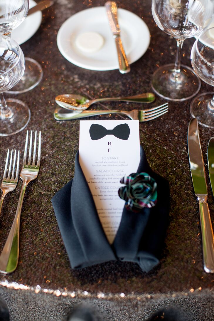Menu cards donned classic black bow ties, which was perfect since Michael works at the Tie Bar. Greeting guests at the dinner table was the menu card tucked into a crisp black tuxedo folded napkin and a fabric floral pin attached to the lapel, creating a kitschy suited look guests will not soon forget.