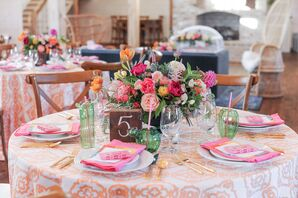 Patterned Table Cloth and Pink Rose Centerpiece