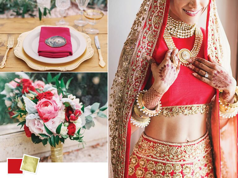 a9a625f2d8 Red and gold wedding color inspiration