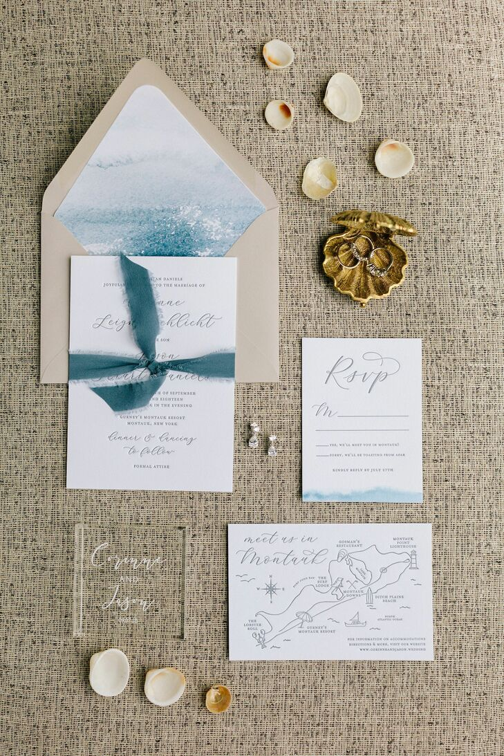 Nautical Beach-Inspired Wedding Invitations with Calligraphy