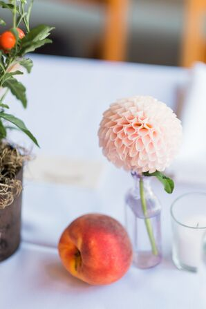 Peach and Lush Pink Flower at Reception