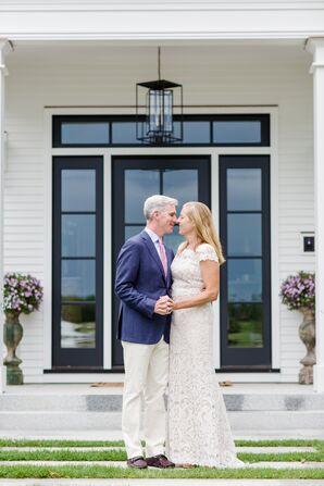 Rustic Bride and Groom at Backyard Vow Renewal